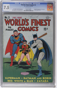 World's Finest Comics #3 (DC, 1941) CGC VF- 7.5 Off-white pages. A 7.5 copy is quite impressive for this particular squa...