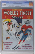 Golden Age (1938-1955):Superhero, World's Finest Comics #4 (DC, 1941) CGC FN 6.0 Off-white pages. American skiing prowess is a bit of a sore subject in light ...