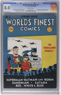 World's Finest Comics #5 (DC, 1942) CGC VF 8.0 Off-white pages. One glance at this book's great-looking spine made us su...