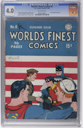 """Golden Age (1938-1955):Superhero, World's Finest Comics #6 (DC, 1942) CGC VG 4.0 Off-white pages. While the original """"gas mask"""" Sandman had appeared in the pr..."""