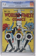 """Golden Age (1938-1955):Superhero, World's Finest Comics #7 (DC, 1942) CGC VF- 7.5 Off-white to white pages. The new """"superhero-style"""" Sandman appears in this ..."""