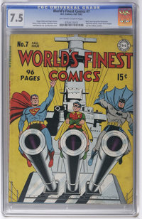 """World's Finest Comics #7 (DC, 1942) CGC VF- 7.5 Off-white to white pages. The new """"superhero-style"""" Sandman ap..."""