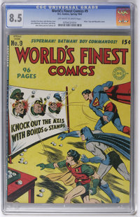 World's Finest Comics #9 (DC, 1943) CGC VF+ 8.5 Off-white to white pages. Here's one of the highlights of this high-grad...