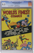 Golden Age (1938-1955):Superhero, World's Finest Comics #10 (DC, 1943) CGC VF+ 8.5 Off-white to white pages. This book from Harold Curtis' collection has tied...