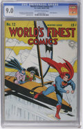 Golden Age (1938-1955):Superhero, World's Finest Comics #12 (DC, 1943) CGC VF/NM 9.0 Off-white to white pages. VF/NM is a difficult grade for a square bound b...