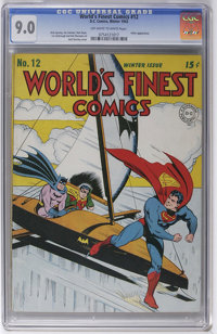 World's Finest Comics #12 (DC, 1943) CGC VF/NM 9.0 Off-white to white pages. VF/NM is a difficult grade for a square bou...