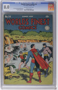 Golden Age (1938-1955):Superhero, World's Finest Comics #14 (DC, 1944) CGC VF 8.0 Off-white to white pages. Here's one of the best copies we've seen of this i...
