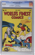 Golden Age (1938-1955):Superhero, World's Finest Comics #15 (DC, 1944) CGC VF 8.0 Off-white to white pages. Jack Burnley is credited with this issue's basebal...