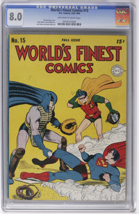 World's Finest Comics #15 (DC, 1944) CGC VF 8.0 Off-white to white pages. Jack Burnley is credited with this issue's bas...