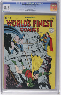 World's Finest Comics #16 (DC, 1944) CGC VF+ 8.5 Off-white to white pages. Kids couldn't get Superman and Batman in the...