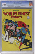 Golden Age (1938-1955):Superhero, World's Finest Comics #17 (DC, 1945) CGC FN/VF 7.0 Off-white to white pages. A Dick Sprang Batman story is just one of the h...