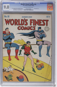 World's Finest Comics #18 (DC, 1945) CGC VF/NM 9.0 Off-white to white pages. Here's one of the (world's) finest known co...