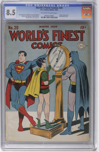 World's Finest Comics #20 (DC, 1945) CGC VF+ 8.5 Off-white to white pages. By now you've noticed that almost all of the...