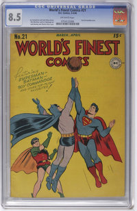 World's Finest Comics #21 (DC, 1946) CGC VF+ 8.5 Off-white pages. We firmly believe that nothing's impossible, but... tr...