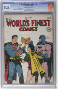 Golden Age (1938-1955):Superhero, World's Finest Comics #22 (DC, 1946) CGC VF+ 8.5 Off-white to white pages. For a square bound Golden Age book with a white c...
