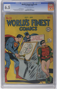 World's Finest Comics #23 (DC, 1946) CGC FN+ 6.5 Off-white to white pages. Time for Robin to exact some major payback fo...