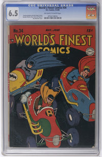 World's Finest Comics #34 (DC, 1948) CGC FN+ 6.5 Off-white to white pages. This book's predominantly black cover may be...