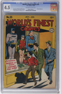 World's Finest Comics #35 (DC, 1948) CGC VG+ 4.5 Off-white to white pages. Batman story has a Penguin appearance. Superm...