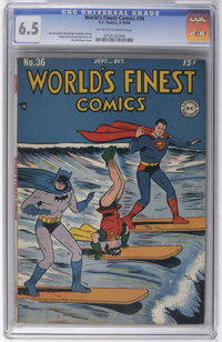 World's Finest Comics #36 (DC, 1948) CGC FN+ 6.5 Off-white to white pages. Batman, Superman, Green Arrow, Zatara, and th...