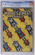 Golden Age (1938-1955):Superhero, World's Finest Comics #37 (DC, 1948) CGC FN/VF 7.0 Off-white to white pages. Win Mortimer cover. Superman, Batman, the Boy C...