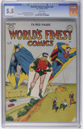Golden Age (1938-1955):Superhero, World's Finest Comics #46 (DC, 1950) CGC FN- 5.5 White pages. Featuring Superman, Batman, Green Arrow, and the Wyoming Kid. ...