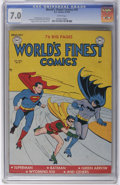 Golden Age (1938-1955):Superhero, World's Finest Comics #47 (DC, 1950) CGC FN/VF 7.0 White pages. This is the only copy of this book certified with a grade ab...