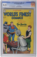 """Golden Age (1938-1955):Superhero, World's Finest Comics #49 (DC, 1950) CGC VG+ 4.5 White pages. Debut of """"Tom Sparks, Boy Inventor"""" backup feature which ran t..."""