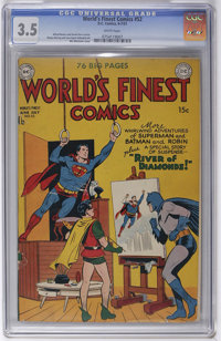 World's Finest Comics #52 (DC, 1951) CGC VG- 3.5 White pages. Win Mortimer cover. Superman and Batman are featured. Over...
