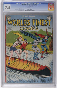 World's Finest Comics #53 (DC, 1951) CGC VF- 7.5 White pages. Win Mortimer cover. Wayne Boring and Dick Sprang art. Over...
