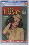 Golden Age (1938-1955):Romance, Young Love #2 (Prize, 1949) CGC VF 8.0 Off-white pages. This is thefirst time we'd seen any early issue of the original...