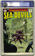 Silver Age (1956-1969):Adventure, Sea Devils #10 Pacific Coast pedigree (DC, 1963) CGC NM+ 9.6 White pages. This grey tone underwater scene by Russ Heath woul...