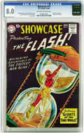 """Silver Age (1956-1969):Superhero, Showcase #14 The Flash (DC, 1958) CGC VF 8.0 Off-white to whitepages. """"Rare in NM,"""" says Overstreet about this issue, and i..."""