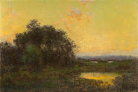 JULIAN ONDERDONK (American, 1882-1922) Summer Afternoon Oil on board 6 x 9 inches (15.2 x 22.9 cm
