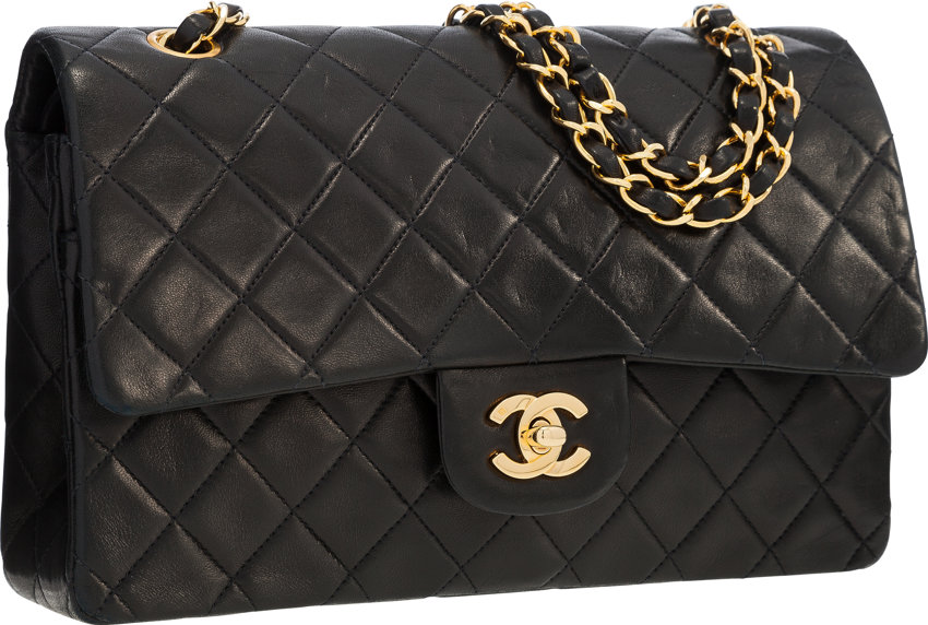 03b729a7f87c67 ... Luxury Accessories:Bags, Chanel Black Quilted Lambskin Leather Medium Double  Flap Bag withGold Hardware ...