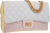 Chanel Pink, Blue & Yellow Quilted Sateen Jumbo Reissue Single Flap Bag with Gold Jewel Chain Strap
