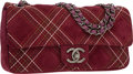 Luxury Accessories:Bags, Chanel Maroon Embroidered Suede Medium Flap Bag with GunmetalHardware. ...