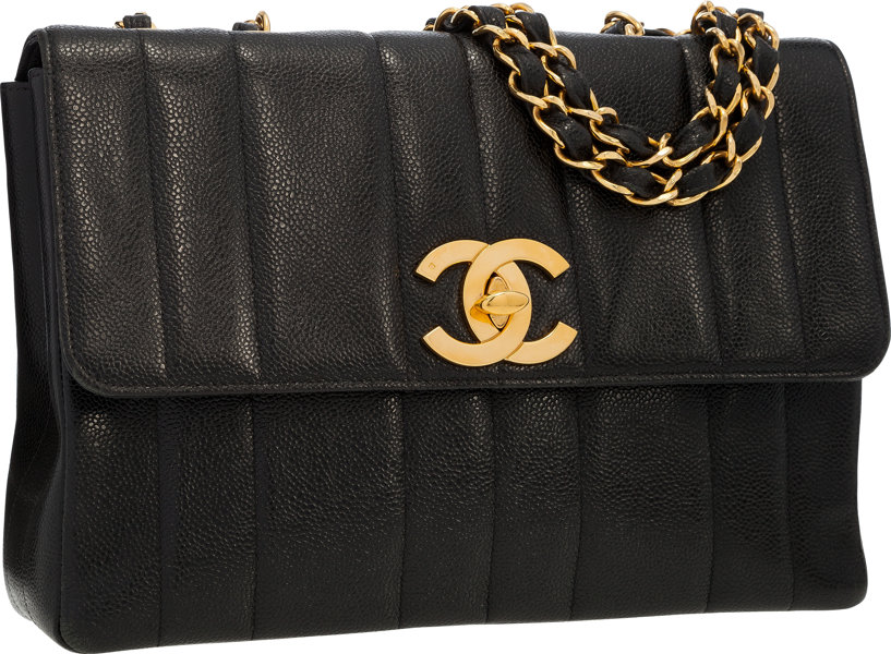 Luxury Accessories Bags Chanel Black Caviar Leather Maxi Single Flap Bag With Goldhardware