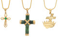 Estate Jewelry:Necklaces, Jade, Emerald, Gold Pendant-Necklaces. ... (Total: 3 Items)