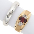Estate Jewelry:Rings, Garnet, Diamond, Gold, White Gold Gentleman's Rings. ... (Total: 2Items)