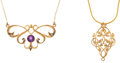 Estate Jewelry:Necklaces, Amethyst, Diamond, Gold Necklaces . ... (Total: 2 Items)