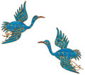 Estate Jewelry:Brooches - Pins, Pair of Kingfisher Feather, Leather, Gold-Plated Brooches. ...