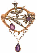 Estate Jewelry:Brooches - Pins, Seed Pearl, Glass, Gold Brooch. ...