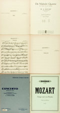 Books:Music & Sheet Music, [Sheet Music]. [Mozart]. Group of Six Sets of Mozart Sheet Music. Various publisher's and dates. Large octavos. Publisher's ... (Total: 4 Items)