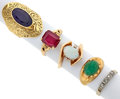 Estate Jewelry:Rings, Lot of Multi-Stone, Diamond, Gold, White Gold Rings. ... (Total: 5Items)