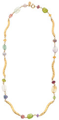 Estate Jewelry:Necklaces, Multi-Stone, Freshwater Cultured Pearl, Gold Necklace, Tous. ...