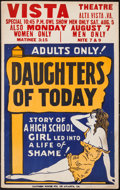 "Movie Posters:Exploitation, Daughters of Today (Early 1930s). Locally Produced Window Card (14""X 22""). Exploitation.. ..."