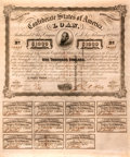 "Miscellaneous:Ephemera, Confederate States of America $1,000 Bond. One page, 13.75"" x16.75"", Richmond, March 2, 1863, with eleven attached thirty-f..."