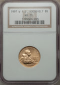 Modern Issues: , 1997-W G$5 Franklin D. Roosevelt Gold Five Dollar MS70 NGC. NGC Census: (450). PCGS Population (224). Mintage: 11,894. Numi...