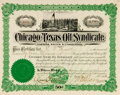 """Miscellaneous:Ephemera, Chicago-Texas Oil Syndicate 50¢ Stock Certificate. 10.25"""" x 8"""",September 20, 1902, certifying the ownership of 25,000 share..."""