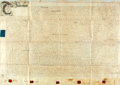"""Miscellaneous:Ephemera, Land Deed in the Reign of King George III. One page, 34.75"""" x 25"""",England, October 2, 1770, for a parcel of land in the amo..."""